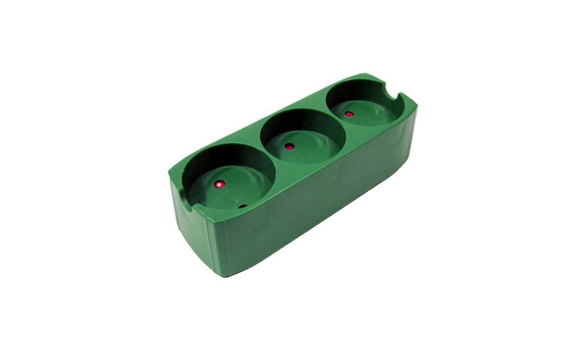 3-stikdåse m/jord grøn plast