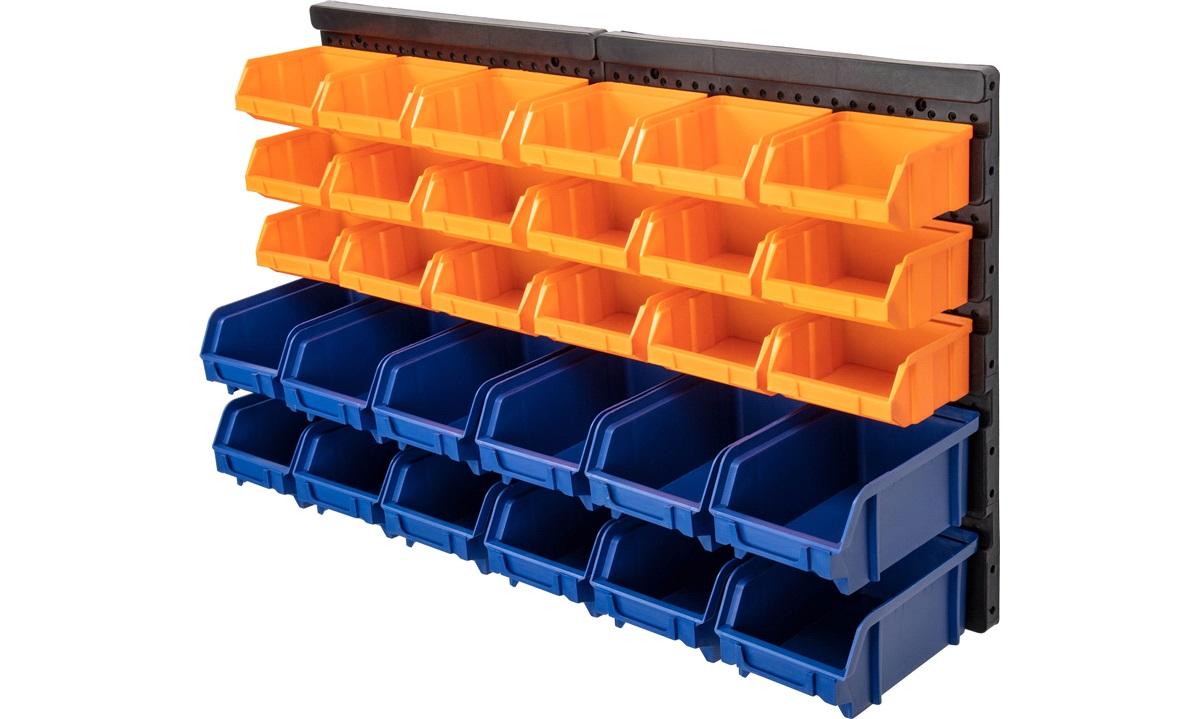 Værkstedstavle med 30 opbevaringskasser