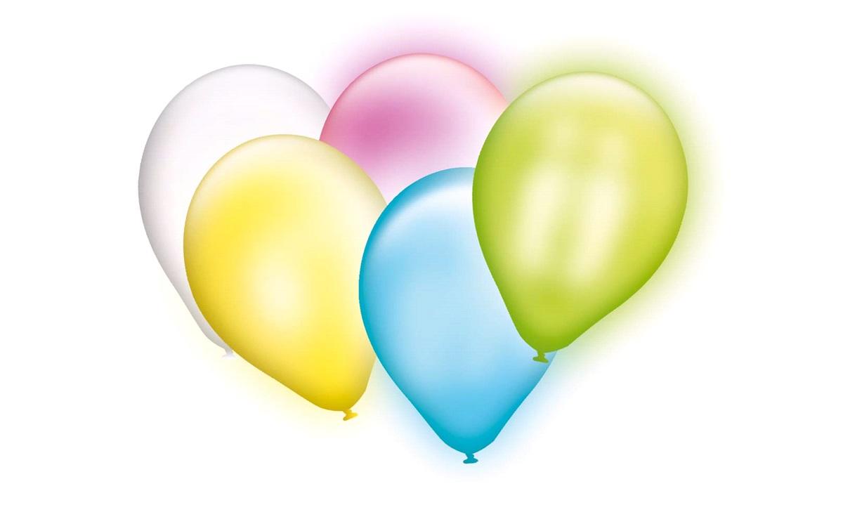 Balloner med LED lys, 5 stk. pakke