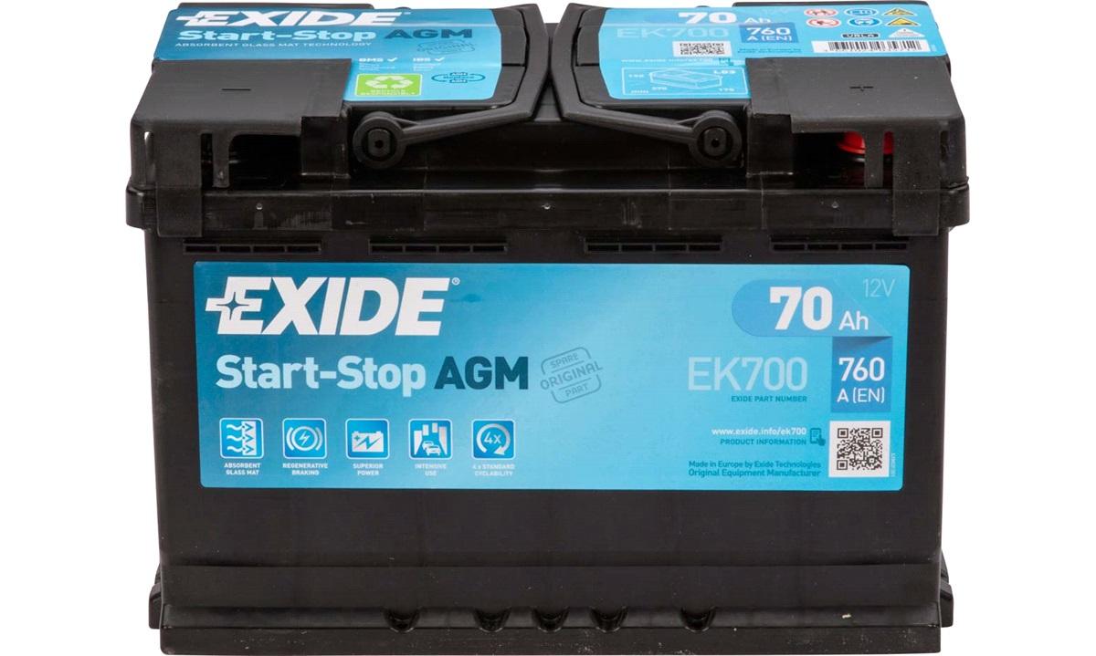 Batteri - EK700 - Start-Stop AGM - (Exide)