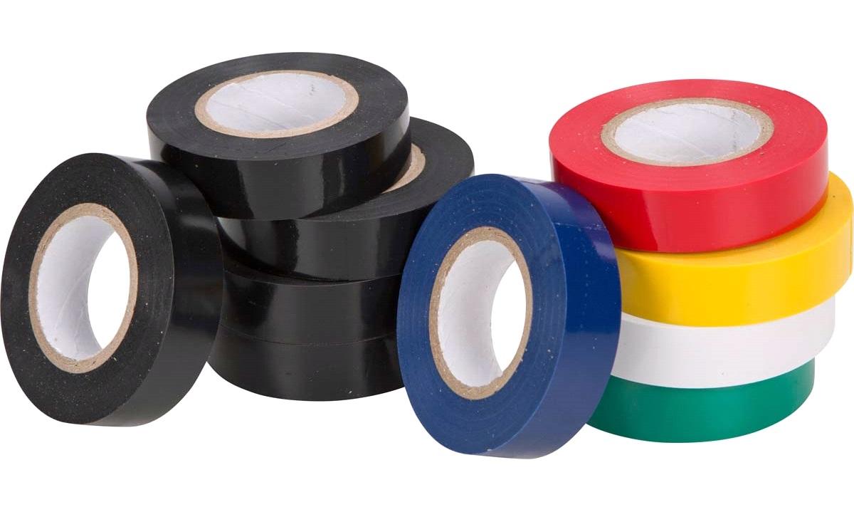Isoleringstape 10 ruller 5 sort og 5 blandet farver