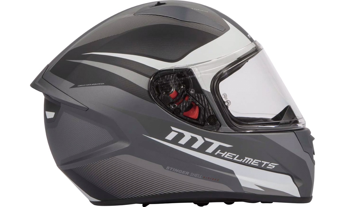 Styrthjelm fullface MT Stinger Divided gunmetal str. XL
