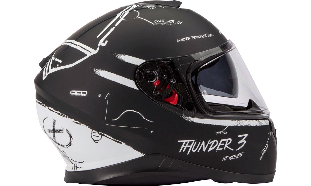 Styrthjelm fullface m/solbrille MT Thunder3 SV Board matsort/hvid str. S