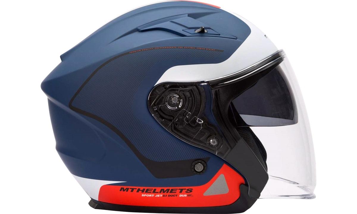 Styrthjelm Pilot m/solbrille MT Avenue mat blå/hvid/rød str. XS